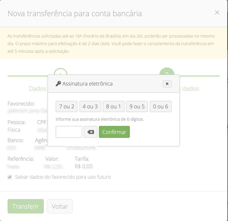 transferir valores do Wide Pay